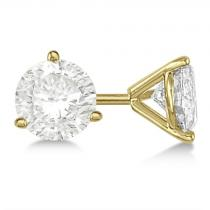 Yellow Gold Three-Prong Martini Diamond Stud Earrings